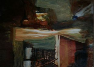 Inside Outside Windows I by Wrupanjali Baruah, Expressionism Painting, Oil on Acrylic Sheet, Brown color