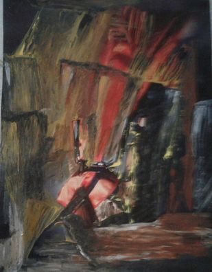 Uprising by Wrupanjali Baruah, Expressionism Painting, Oil on Acrylic Sheet, Brown color