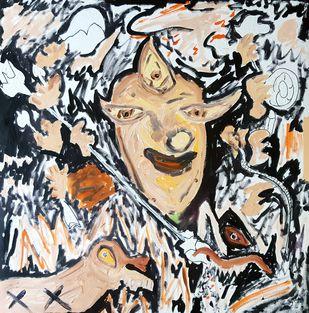 Durga by Debajyoti Roy, Pop Art Painting, Acrylic on Canvas, Gray color