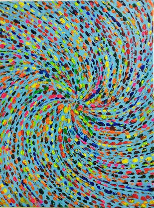Tipsy by RUBPREET KAUR, Abstract Painting, Acrylic on Canvas, Green color