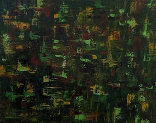 Parvat by RUBPREET KAUR, Abstract Painting, Acrylic on Canvas, Green color