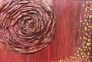 Red Rose by RUBPREET KAUR, Abstract Painting, Acrylic on Canvas, Brown color