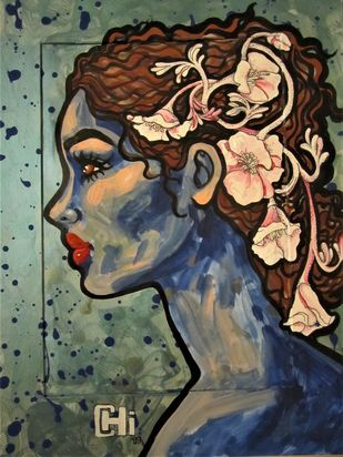 Girl with beautiful thoughts IV by Suruchi Jamkar, Pop Art Painting, Watercolor and charcoal on paper, Brown color