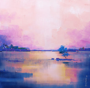 Abstract Landscape 022 by Gangu Gouda, Abstract Painting, Acrylic on Canvas, Pink color
