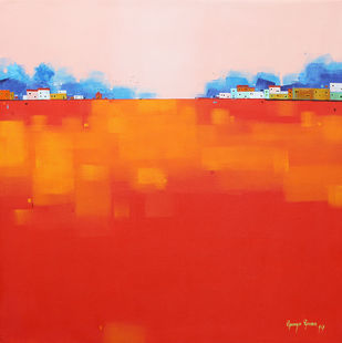Abstract Landscape 023 by Gangu Gouda, Abstract Painting, Acrylic on Canvas, Red color