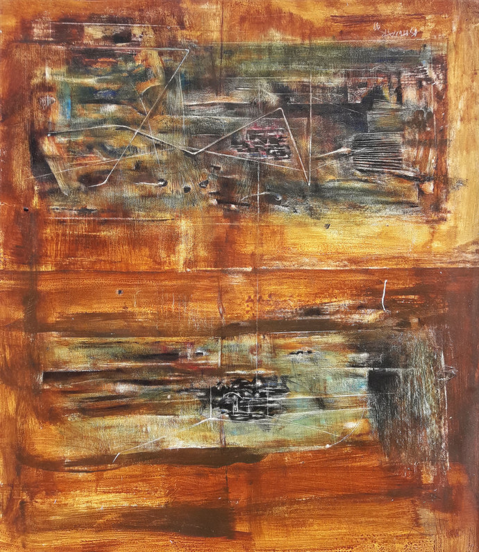 Untitled#2 by Ishwar Gurung, Abstract Painting, Mixed Media on Paper, Brown color