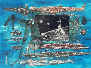 Untitled#3 by Ishwar Gurung, Conceptual Painting, Mixed Media on Paper, Cyan color