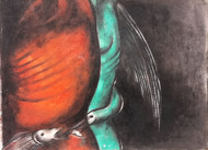 You had your soul with you by Ishwar Gurung, Expressionism Drawing, Mixed Media on Paper, Brown color