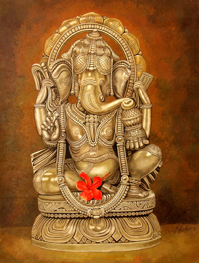 Ganesha by Shaheen Verma, Realism Painting, Oil on Canvas, Brown color