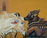 Faith by Shatakshi Sharma , Traditional Painting, Acrylic on Canvas, Brown color