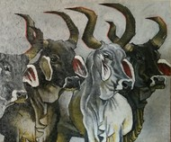 Gathering by Shatakshi Sharma , Photorealism Painting, Acrylic on Canvas, Gray color
