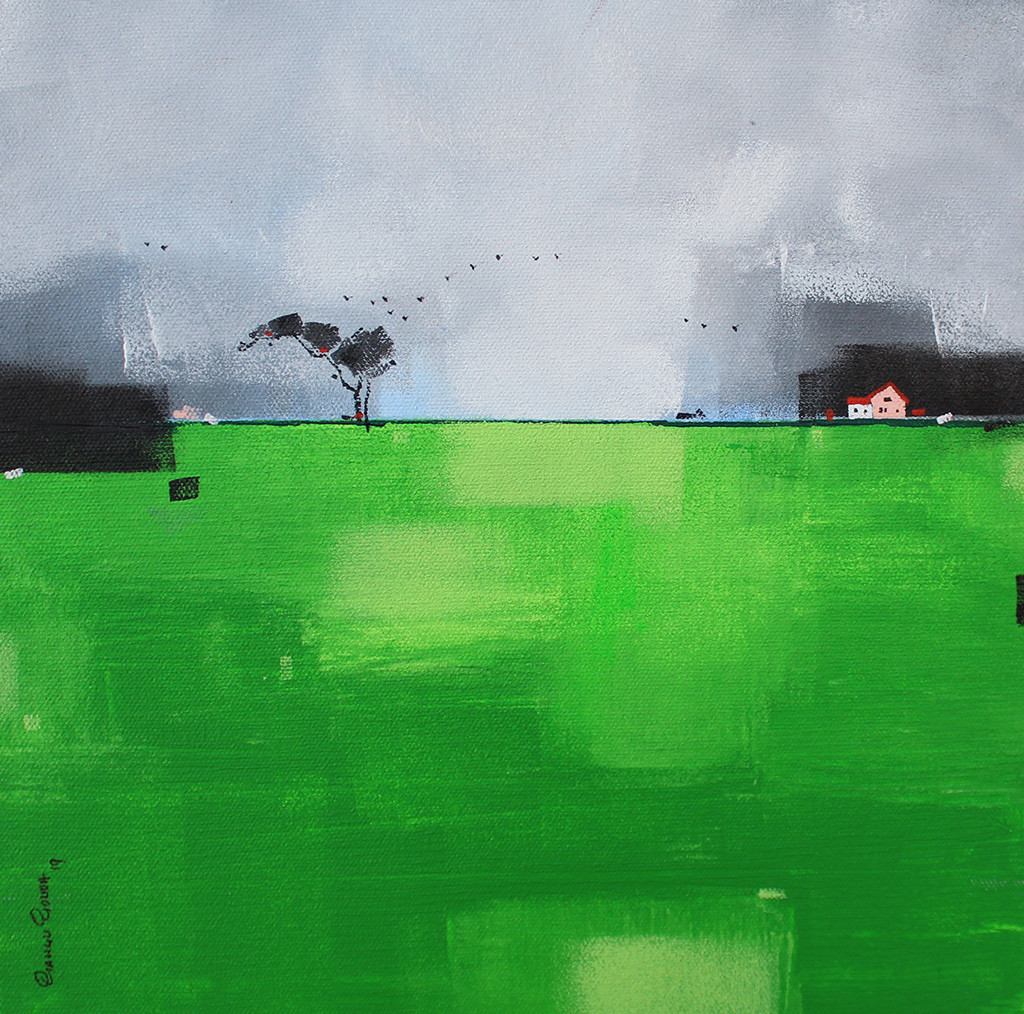 Abstract Landscape 028 by Gangu Gouda, Abstract Painting, Acrylic on Board, Green color