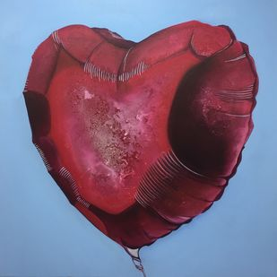 Tear open my heart by Vernika, Art Deco Painting, Acrylic on Canvas, Solid Pink color