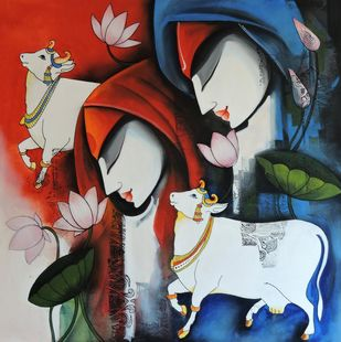 love remix2 by pradeesh k raman, Decorative Painting, Acrylic on Canvas, Brown color