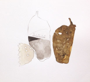 untitled 1480 by Arvind V Patel, Illustration Drawing, Watercolor on Paper, Gray color