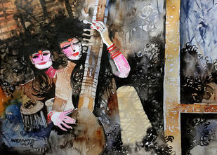 Concert 1 by Mopasang Valath, Impressionism Painting, Watercolor on Paper, Brown color