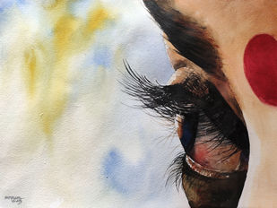 Dancer's Eyes by Mopasang Valath, Impressionism Painting, Watercolor on Paper, Beige color