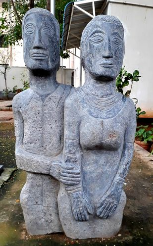 Couple by Karoonamoorthy.N, Art Deco Sculpture | 3D, Stone, Gray color