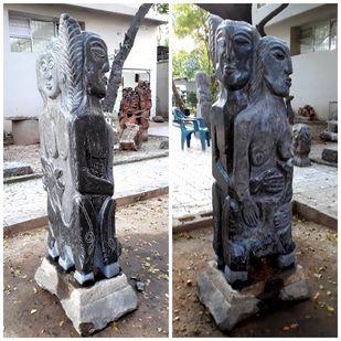 KRISHNA WITH RADHA RUKMANI by Karoonamoorthy.N, Art Deco Sculpture | 3D, Stone, Gray color