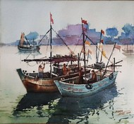 Morning Life by Ananda Ahire, Impressionism Painting, Watercolor on Paper, Gray color