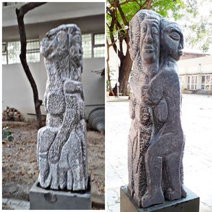 Women with elephant by Karoonamoorthy.N, Art Deco Sculpture | 3D, Stone, Gray color
