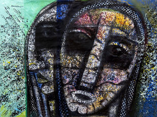 sister by Arun K Mishra, Expressionism Painting, Acrylic on Canvas, Gray color