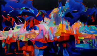 Colour of the Universe XVIII by Sumitava Maity, Abstract Painting, Oil on Canvas, Blue color