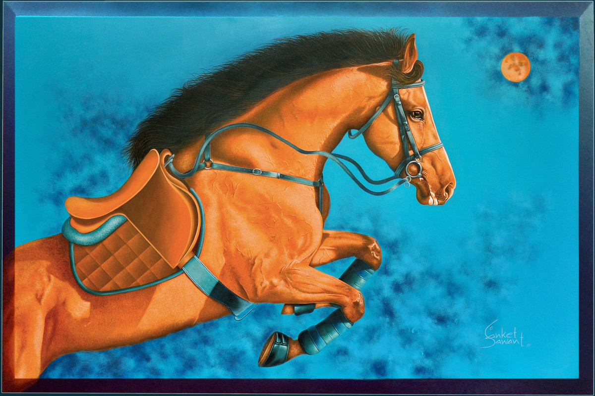 Unstoppable... by sanket sawant, Photorealism Painting, Acrylic on Canvas, Red Damask color