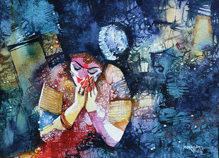 Dancer - 1 by Mopasang Valath, Expressionism Painting, Watercolor on Paper, Blue color