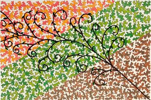 Tree of Life by Kaamna Trehan, Decorative Drawing, Mixed Media on Paper, Beige color