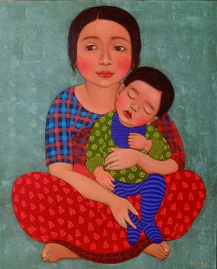 mother and son by Meena Laishram, Expressionism Painting, Acrylic on Canvas, Green color