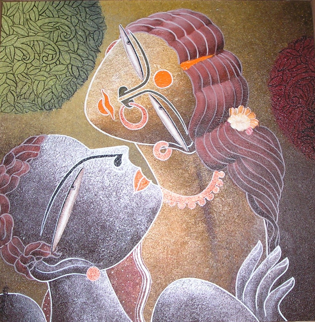The Tune of Nandalala by Dhananjay Mukherjee, Decorative Painting, Acrylic on Canvas, Brown color