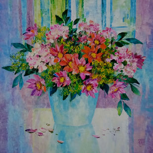 My Flowers by Swati Kale, Expressionism Painting, Oil on Canvas, Green color