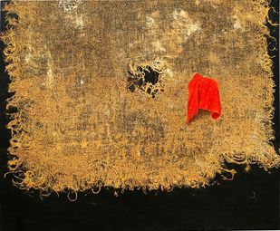 Untitled by Geetha Ramasesh, Conceptual Painting, Oil on Canvas, Brown color