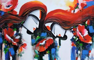 love story by pradeesh k raman, Traditional Painting, Acrylic on Canvas, Brown color