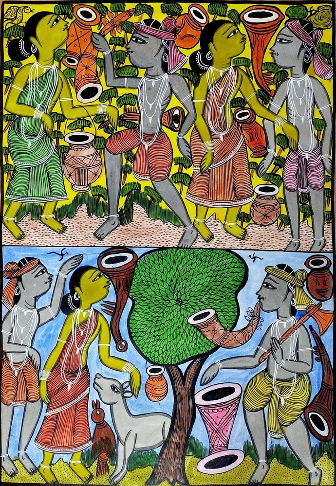 Festivities among Santhal Tribe by Bahadur Chitrakar, Folk Painting, Natural colours on paper, Green color