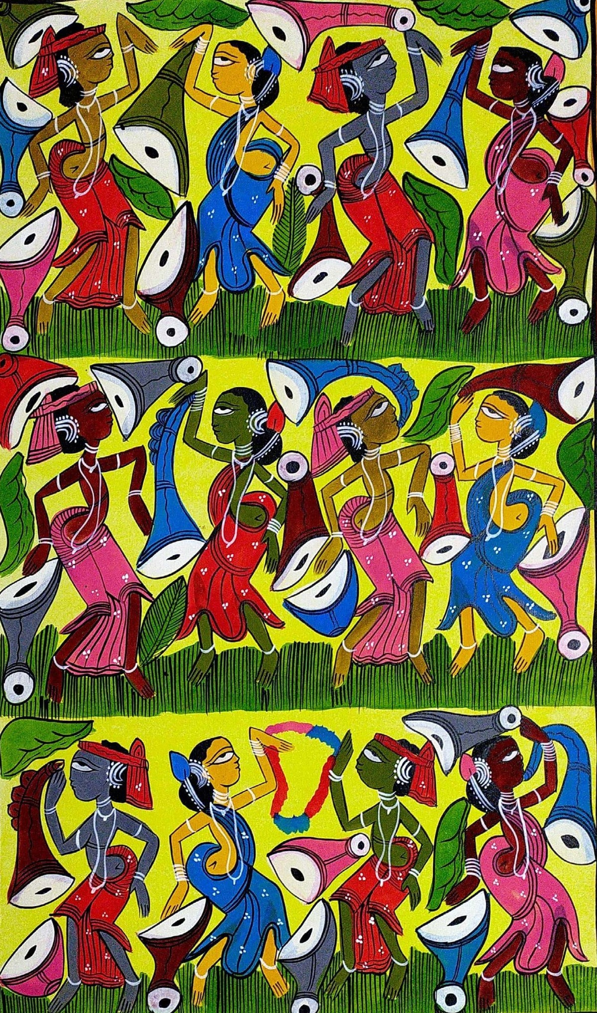 Wedding Celebrations in Santhal Tribe by Suman Chitrakar, Folk Painting, Natural colours on paper, Green color
