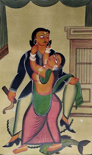 Babu and Bibi by Susama Chitrakar, Folk Painting, Natural colours on paper,