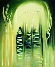 Untitled 2 by anjali kaul, Abstract Painting, Acrylic on Canvas, Green color