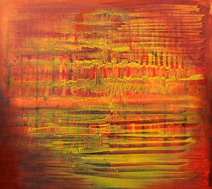 Untitled 4 by anjali kaul, Abstract Painting, Acrylic on Canvas, Orange color