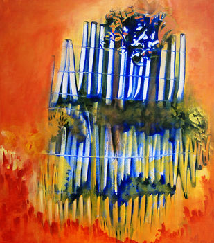 Untitled 5 by anjali kaul, Abstract Painting, Acrylic on Canvas, Orange color