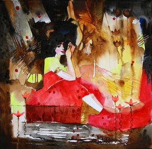 She and the lotus pond 2 Digital Print by Mopasang Valath,Impressionism
