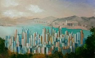 The City by Herendra Swarup , Expressionism Painting, Acrylic on Canvas, Green color