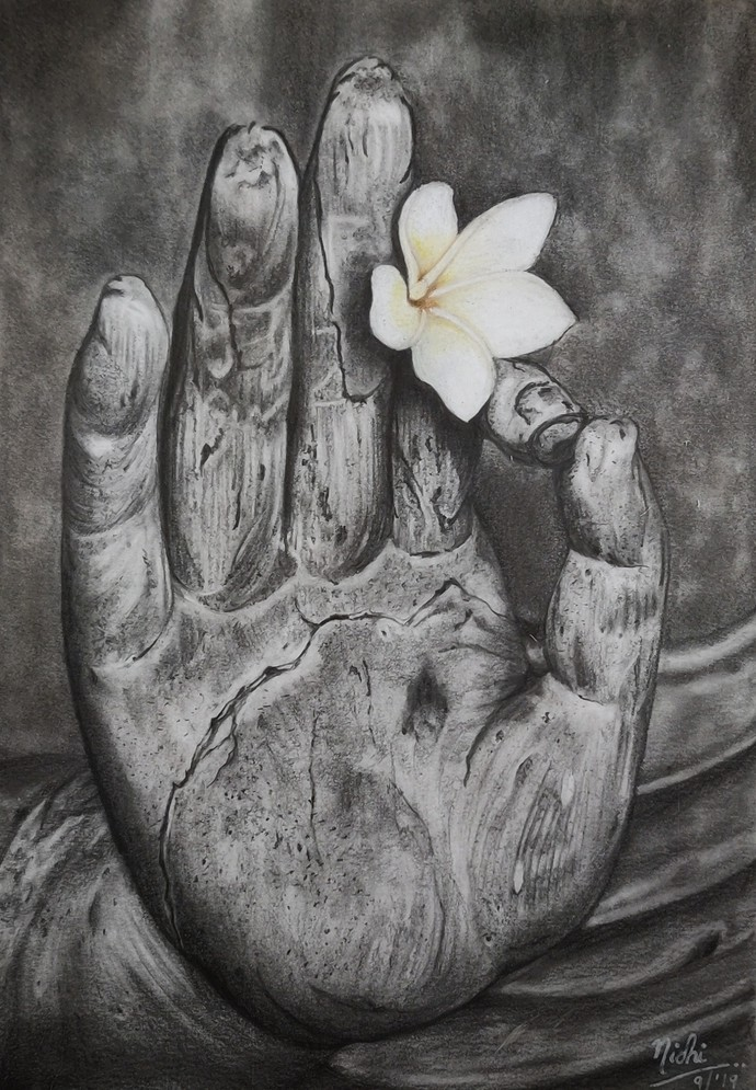 PEACE by Nidhi Bhatia, Illustration Painting, Graphite on Paper,