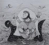 Power by Rakhee Kumari, Illustration Drawing, Ink on Paper, Gray color