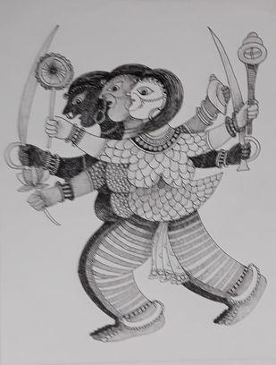 Tin Deviya by Rakhee Kumari, Illustration Drawing, Ink on Paper, Gray color