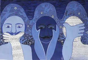 Bapuj moral by Rakhee Kumari, Expressionism Painting, Acrylic on Paper, Blue color