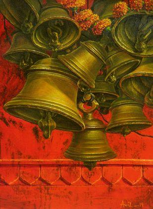 ARADHANA-20 by Anil Kumar Yadav, Realism Painting, Acrylic on Canvas, Brown color