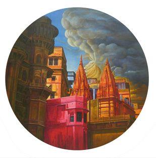 VARANASI-18 by Anil Kumar Yadav, Photorealism Painting, Acrylic on Canvas, Brown color