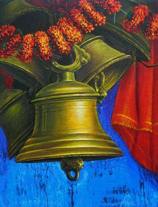 ARADHANA-23 by Anil Kumar Yadav, Realism Painting, Acrylic on Canvas, Green color